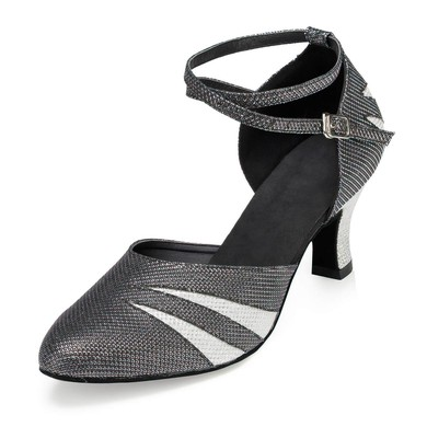 Women's Silver Sparkling Glitter Kitten Heel Pumps #LDB03030663
