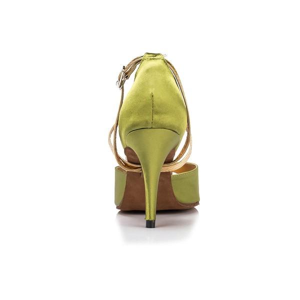 Women's Grass Green Satin Stiletto Heel Pumps