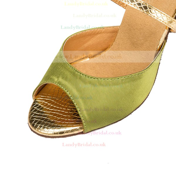 Women's Grass Green Satin Stiletto Heel Pumps