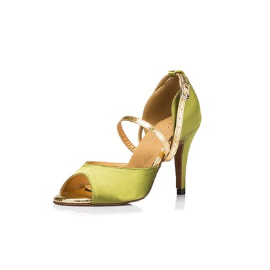Women's Grass Green Satin Stiletto Heel Pumps #LDB03030664