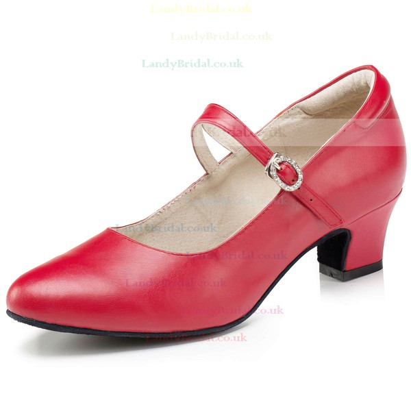 Women's Red Real Leather Low Heel Pumps