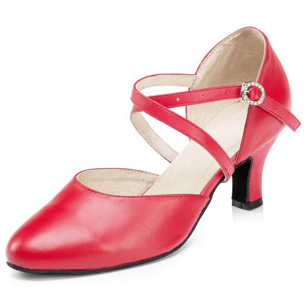 Women's Red Real Leather Low Heel Heels