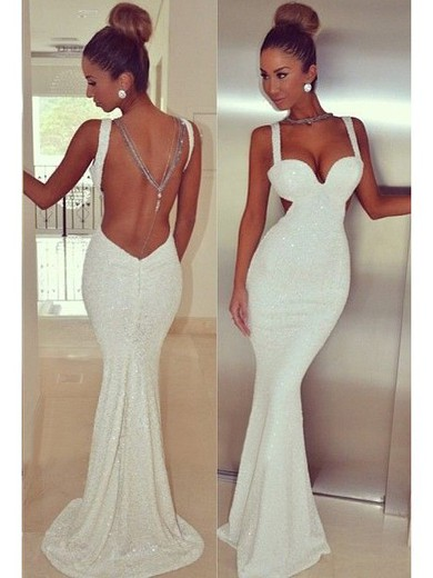 Trumpet/Mermaid Open Back Ivory Sequined Sweetheart Sparkly Prom Dresses #LDB02016105