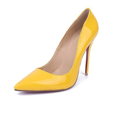 Women's Yellow Patent Leather Stiletto Heel Pumps #LDB03030668