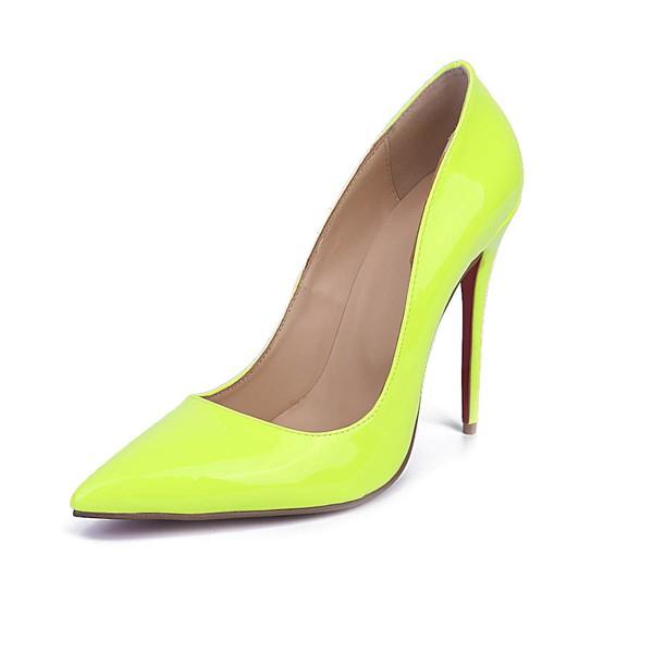 Women's Grass Green Patent Leather Stiletto Heel Pumps #LDB03030669