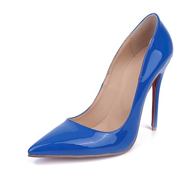 Women's Blue Patent Leather Stiletto Heel Pumps #LDB03030670