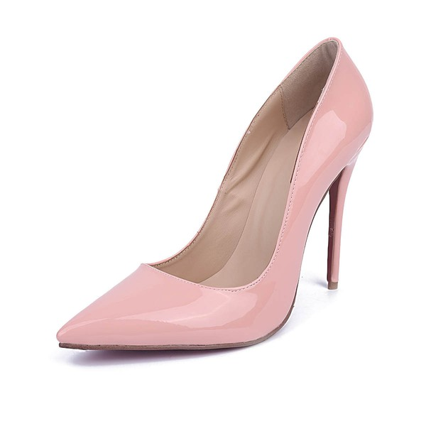 Women's Pale Pink Patent Leather Stiletto Heel Pumps #LDB03030673