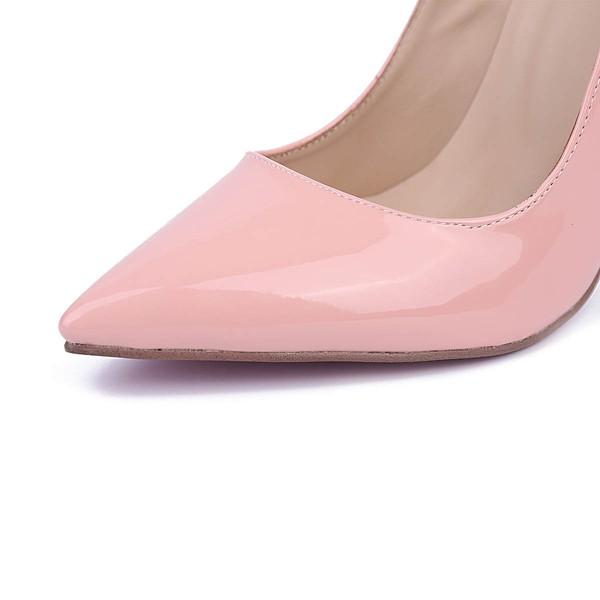 Women's Pale Pink Patent Leather Stiletto Heel Pumps