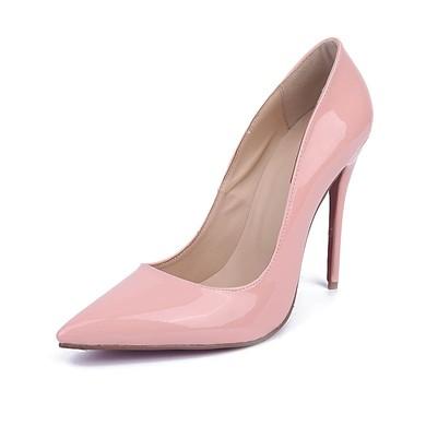 Women's Pale Pink Patent Leather Stiletto Heel Pumps #LDB03030673