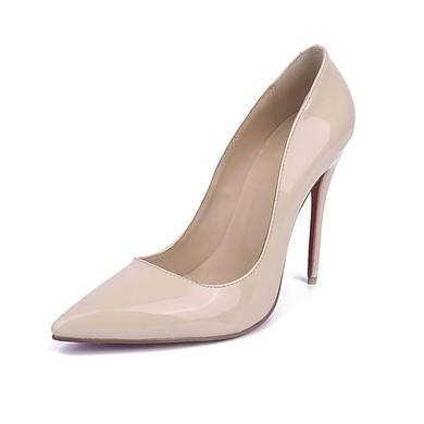 Women's Champagne Patent Leather Stiletto Heel Pumps #LDB03030674