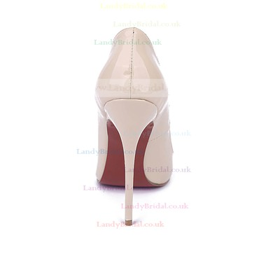 Women's Champagne Patent Leather Stiletto Heel Pumps #LDB03030674