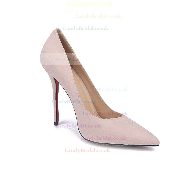 Women's Pale Pink Cloth Stiletto Heel Pumps