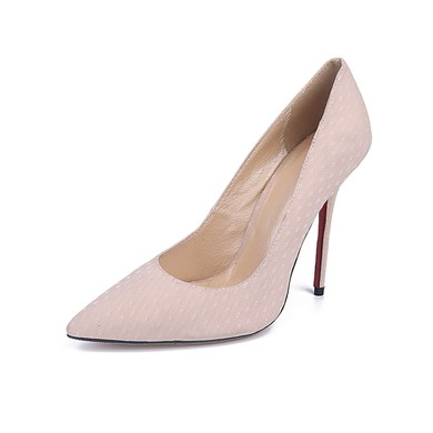 Women's Pale Pink Cloth Stiletto Heel Pumps #LDB03030675