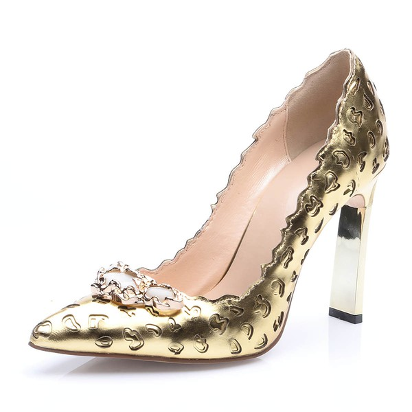 Women's Gold Real Leather Chunky Heel Pumps #LDB03030676