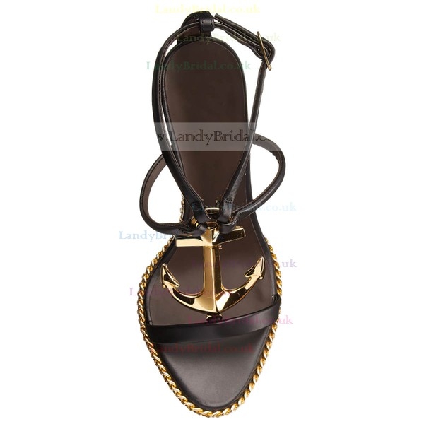 Women's Black Real Leather Wedge Heel Pumps