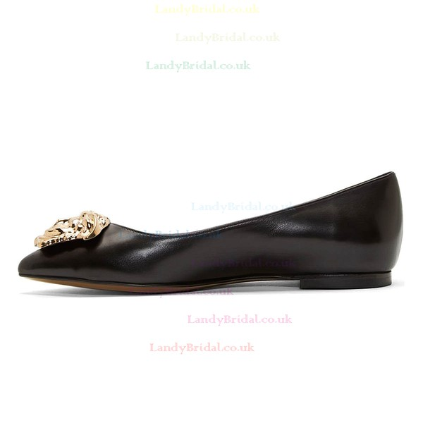 Women's Black Real Leather Flat Heel Closed Toe