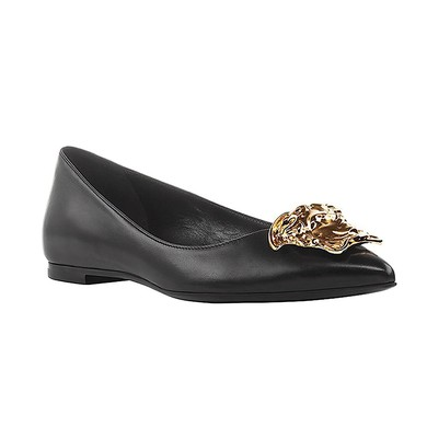 Women's Black Real Leather Flat Heel Closed Toe #LDB03030682