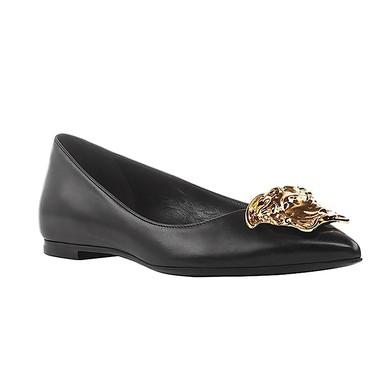 Women's Black Real Leather Flat Heel Closed Toe #LDB03030682
