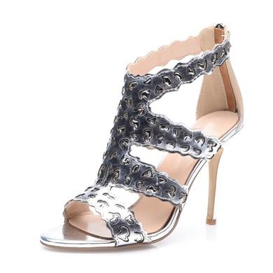 Women's Silver Real Leather Stiletto Heel Pumps #LDB03030683