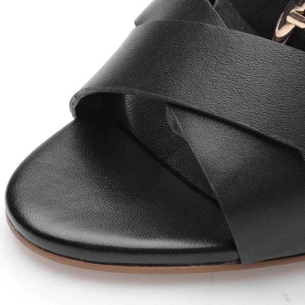 Women's Black Real Leather Stiletto Heel Pumps
