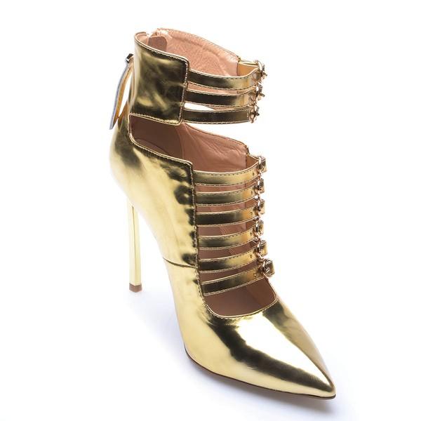Women's Gold Patent Leather Stiletto Heel Pumps