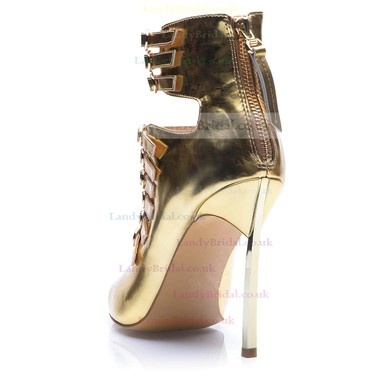 Women's Gold Patent Leather Stiletto Heel Pumps #LDB03030687