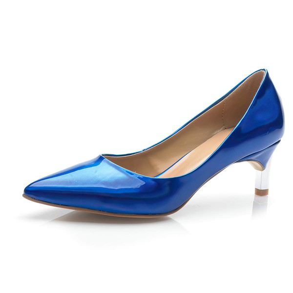 Women's Blue Patent Leather Kitten Heel Pumps #LDB03030692