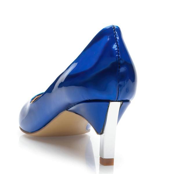 Women's Blue Patent Leather Kitten Heel Pumps