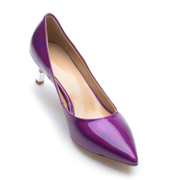 Women's Purple Patent Leather Kitten Heel Pumps