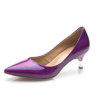 Women's Purple Patent Leather Kitten Heel Pumps #LDB03030693