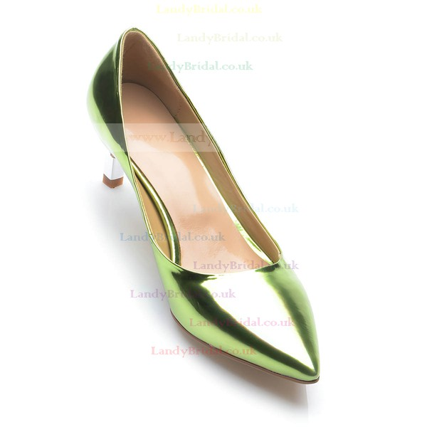 Women's Green Patent Leather Kitten Heel Pumps