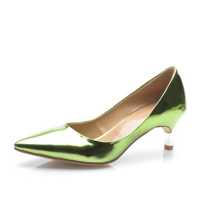 Women's Green Patent Leather Kitten Heel Pumps #LDB03030694