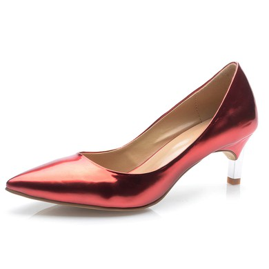 Women's Burgundy Patent Leather Kitten Heel Pumps #LDB03030695