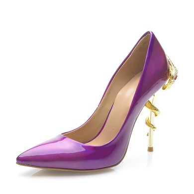Women's Purple Patent Leather Stiletto Heel Pumps #LDB03030697