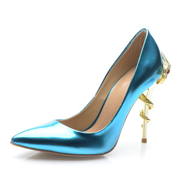 Women's Blue Patent Leather Stiletto Heel Pumps #LDB03030698