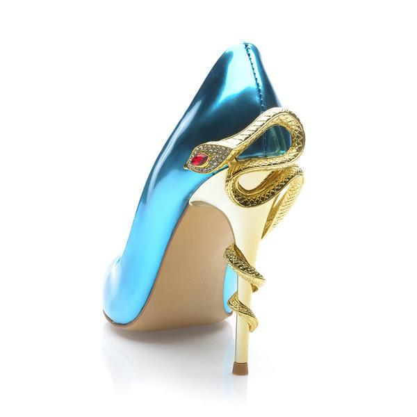 Women's Blue Patent Leather Stiletto Heel Pumps