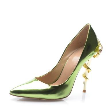 Women's Green Patent Leather Stiletto Heel Pumps #LDB03030699