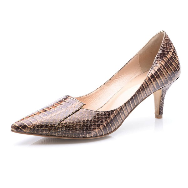 Women's Coffee Patent Leather Stiletto Heel Pumps #LDB03030700