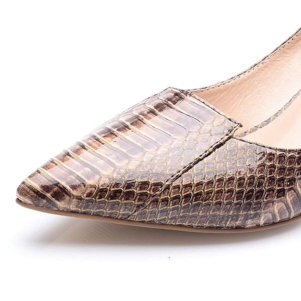 Women's Coffee Patent Leather Stiletto Heel Pumps