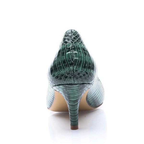 Women's Dark Green Patent Leather Stiletto Heel Pumps
