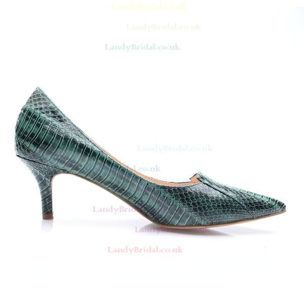 Women's Dark Green Patent Leather Stiletto Heel Pumps