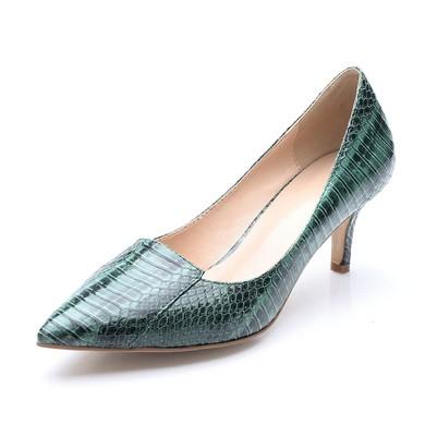 Women's Dark Green Patent Leather Stiletto Heel Pumps #LDB03030701