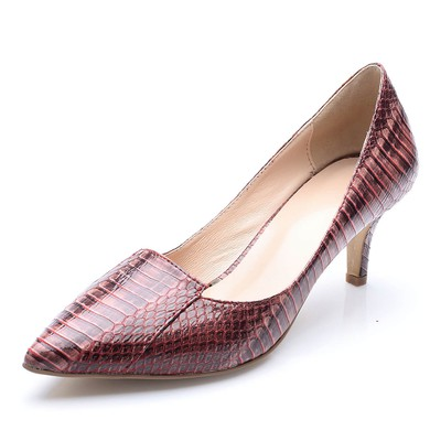 Women's Brown Patent Leather Stiletto Heel Pumps #LDB03030702