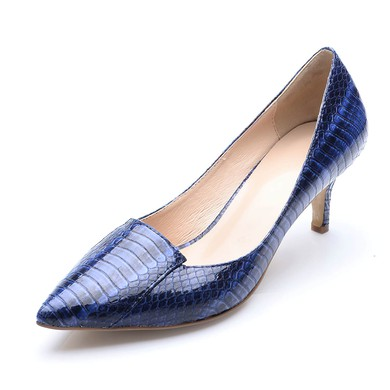 Women's Blue Patent Leather Stiletto Heel Pumps #LDB03030703