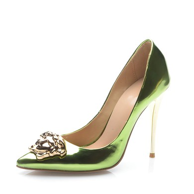 Women's Green Patent Leather Stiletto Heel Pumps #LDB03030705