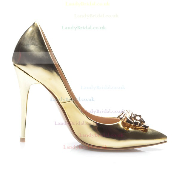 Women's Gold Patent Leather Stiletto Heel Pumps #LDB03030706