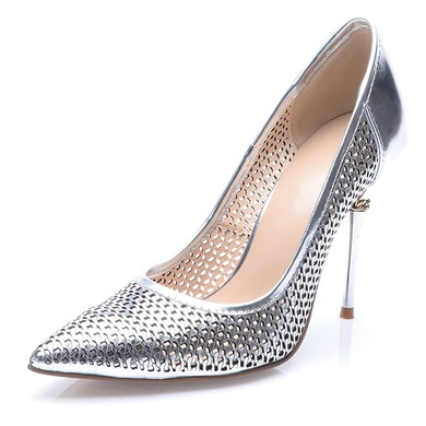 Women's Silver Patent Leather Stiletto Heel Pumps #LDB03030709