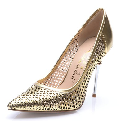 Women's Gold Patent Leather Stiletto Heel Pumps #LDB03030710