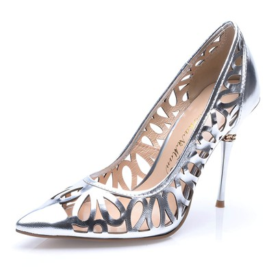 Women's Silver Patent Leather Stiletto Heel Pumps #LDB03030711