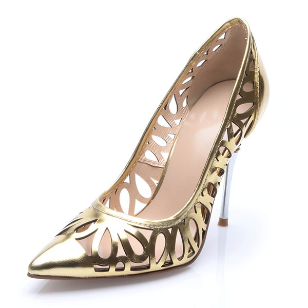 Women's Gold Patent Leather Stiletto Heel Pumps #LDB03030712